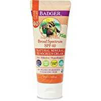 Badger - SPF 40 Kids Clear Sport Sunscreen Cream with Zinc Oxide for Face & Body...