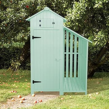 Sentry Box Wooden Garden Tool Shed And Log Store   SAGE GREEN