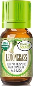 Organic Lemongrass Essential Oil (100% Pure - USDA Certified Organic) Best Therapeutic Grade Essential Oil - 10ml