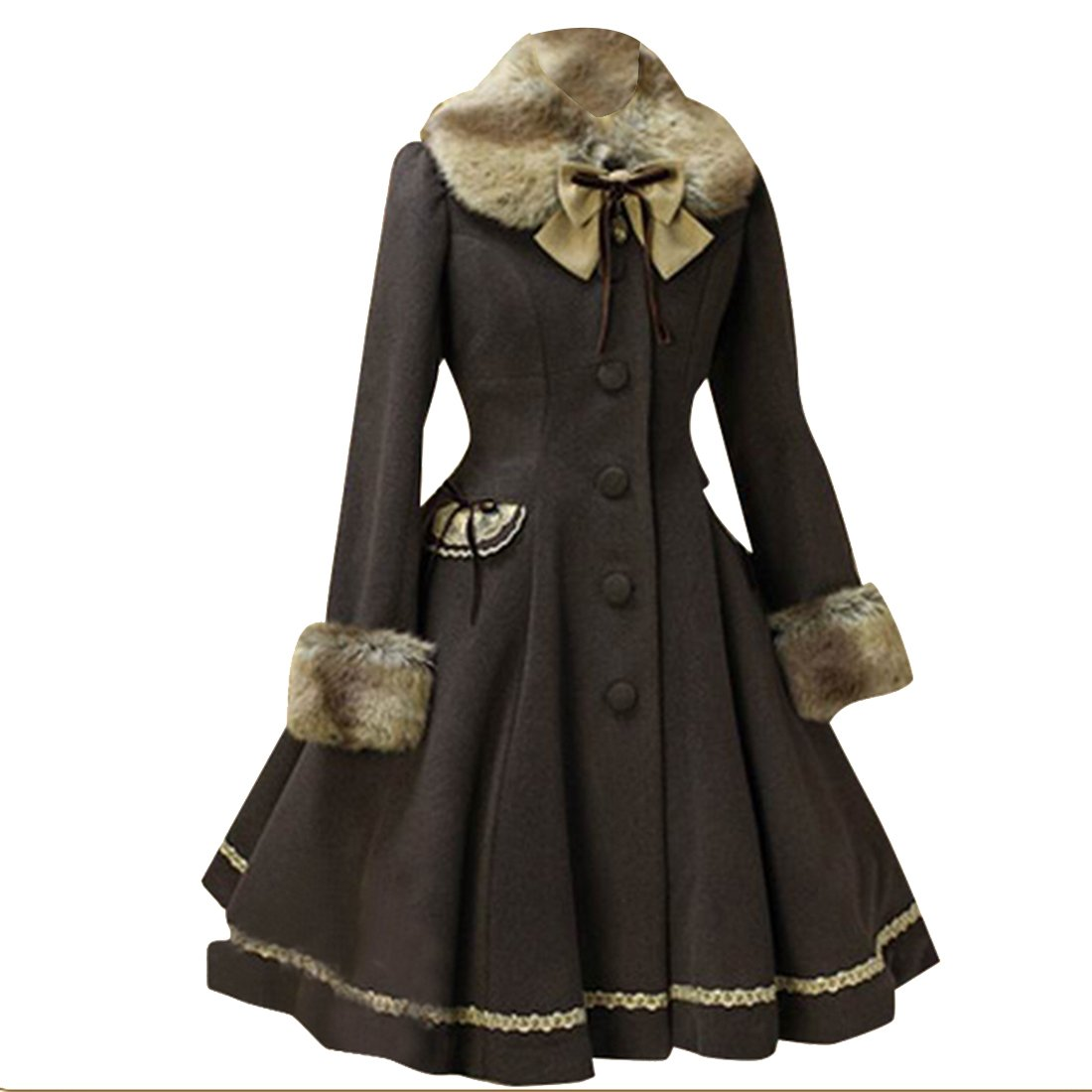 Partiss Womens Winter Faux Fur Sweet Classic Lolita Overcoat Trenchcoat, Chinese XL, Dark Coffee by Partiss