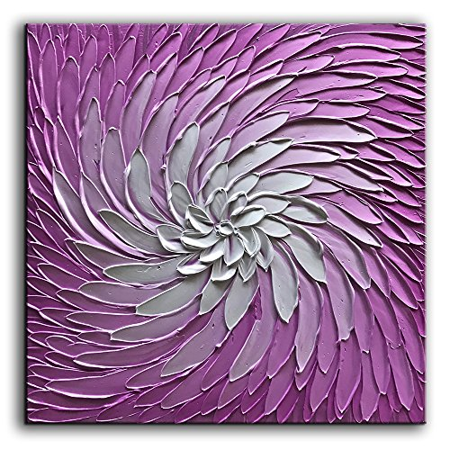 3D Metallic Violet and Silver Texture Oil Painting on Canvas