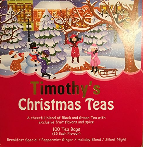 Timothy's Christmas Teas: Breakfast Special, Peppermint Ginger, Holiday Blend, Silent Night (100 Bags-25 each flavor) (Breakfast Special Christmas)