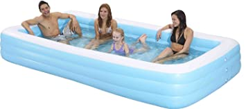 family kiddie pool giant inflatable rectangular pool 12 feet long 144x76quot - Rectangle Inflatable Pool