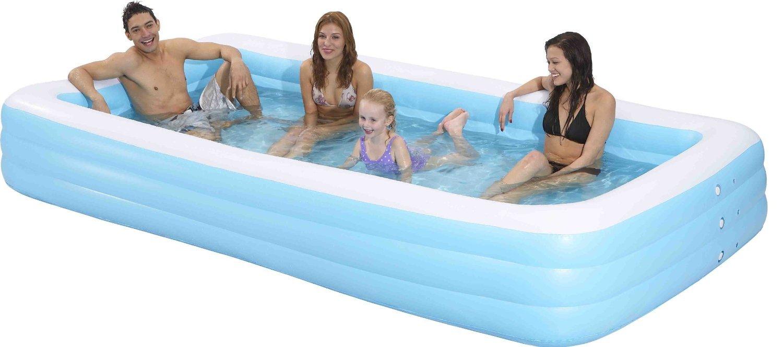 Family Kiddie Pool - Giant Inflatable Rectangular Pool - 12 Feet Long (144''x76''x22'')