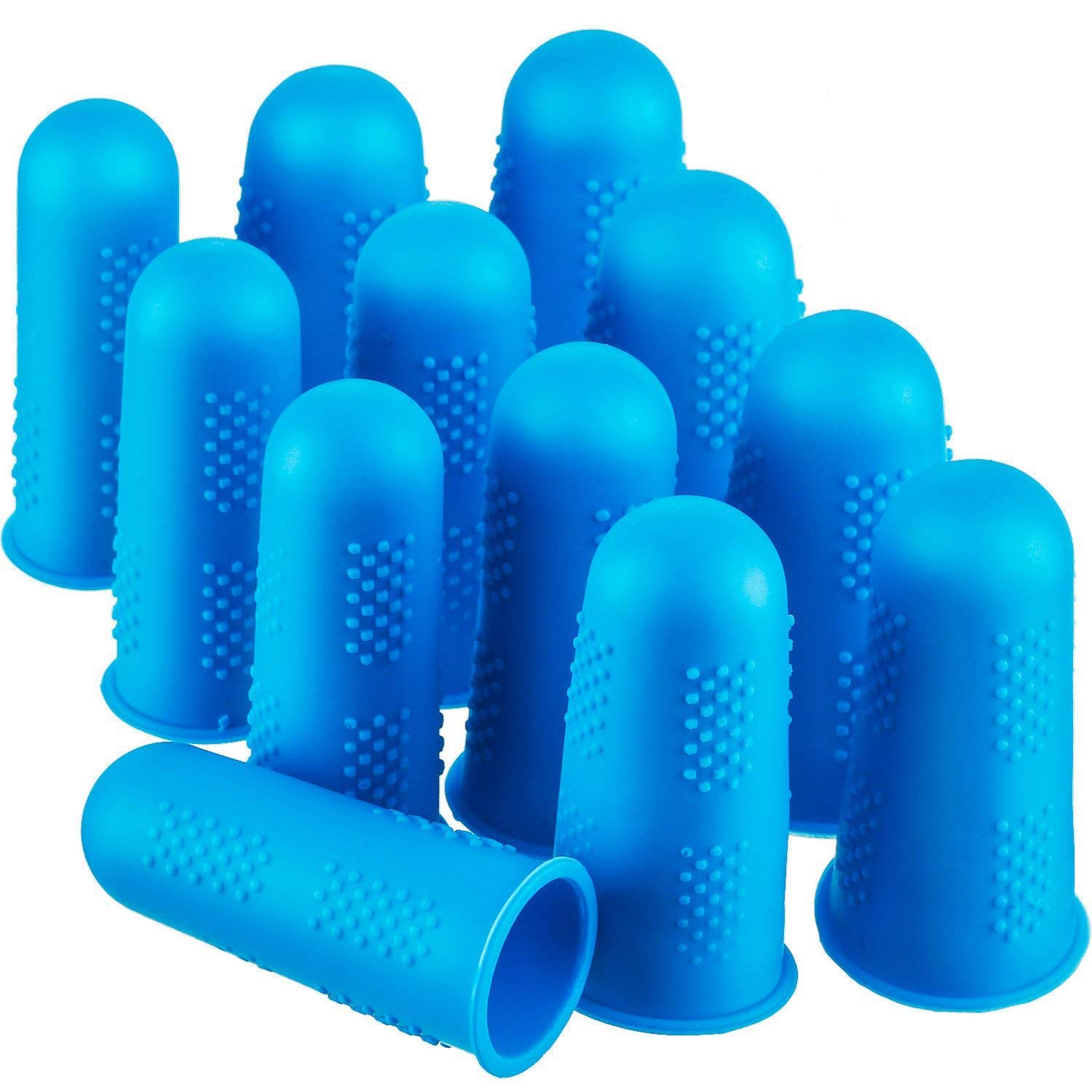 12 Pieces Finger Cots Silicone Finger Protection Covers Caps Finger Tip Protectors Finger Guards Heat Resistant Finger Sleeves 3 Sizes (Blue)