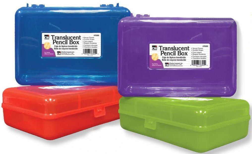 Charles Leonard Pencil Boxes, Plastic Snap-Close Box, 2.5 x 5.25 x 8.25 Inches, Assorted Colors, 24-Pack (76305)