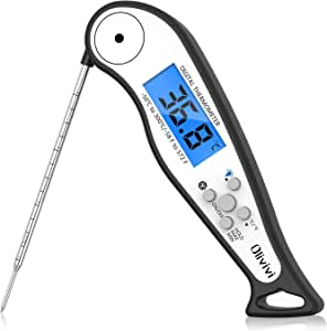 Olivivi Meat Thermometer, Instant Read Thermometer Digital Cooking Thermometer, IP67 Waterproof Food Thermometer for Grilling, Cooking, Outdoor, BBQ, Oven(Battery Included)