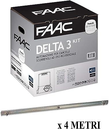 Faac Delta 3 - Kit de automatización para puertas correderas de uso residencial 105630445 + cremallera Hiltron con pernos incluidos: Amazon.es: Bricolaje y herramientas