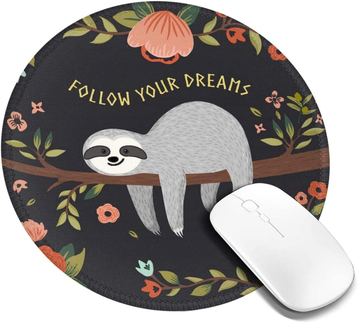 Mouse Pad Round Mousepad Customized Gaming Mousepads for Laptop and Computer Cute Baby Sloth On Tree