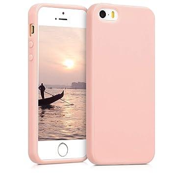 kwmobile Funda para Apple iPhone SE / 5 / 5S - Carcasa para móvil en [TPU Silicona] - Protector [Trasero] en [Rosa Oro Mate]