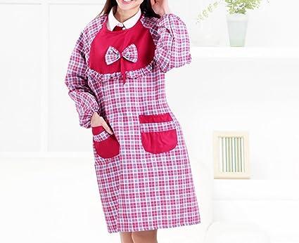 ZHAS Cuadrícula de Empalme Anti-Vestido Chándal Delantales Batas la Versión Coreana de la Primavera