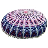 Mandala Floor Pillow Comfortable Mandala Floor Pillows Round Bohemian Cushion Cover Ottoman Pouf Cover