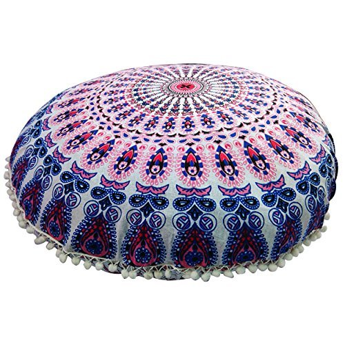 Mandala Floor Pillow Comfortable Mandala Floor Pillows Round Bohemian Cushion Cover Ottoman Pouf Cover by Gokul Handloom