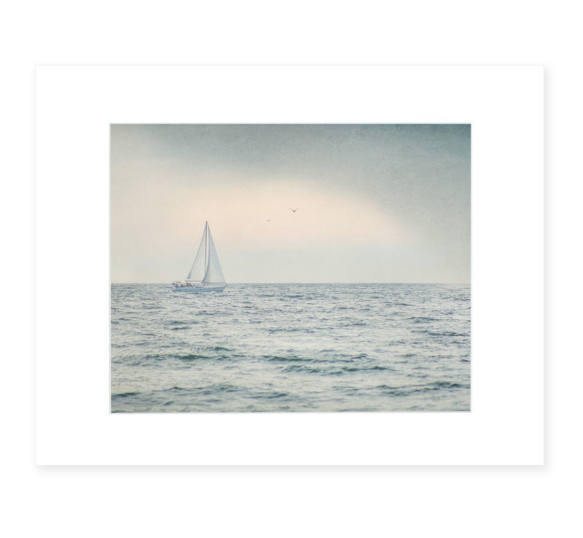Grey Coastal Wall Art, Nautical Sail boat Picture, Ocean Seascape Beach Cottage Decor, 8x10 Matted Photographic Print (fits 11x14 frame), 'Sailing Into Rain'