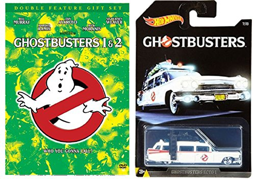 Ghostbusters 1 & 2 Double Feature DVD Set with Hot Wheels Exclusive Classic Ghostbusters Ecto 1 Car Die Cast 1:64 Model Bundle (Aliens Action Figure Hudson)