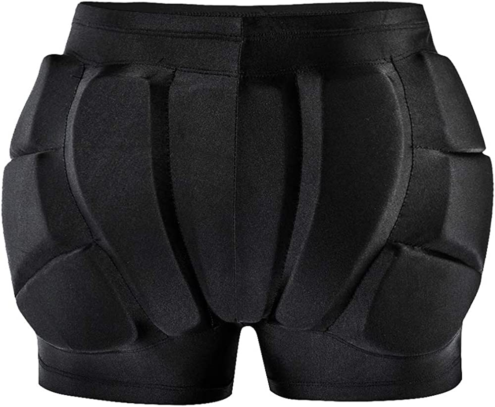 WOSAWE 3D Protection Hip Butt EVA Padded Short Pants Protective Gear Guard Impact Pad for Ski Skate Snowboard Roller Ice Skating Hockey Soccer Women Men Youth Adjustable Padded Shorts Hip Protector