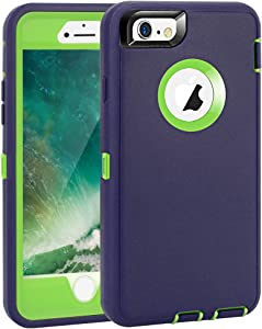 "iPhone 6 Plus/6S Plus Case, Maxcury Heavy Duty Shockproof Series Case for iPhone 6 Plus/6S Plus (5.5"")-V2 with Built-in Screen Protector Compatible with All US Carriers (Navy/Lime)"