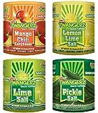 Twang Twangerz Flavored Salt Snack Topping - Lime, Lemon Lime, Mango Chili & Dill Pickle (Assorted, 4 Pack)