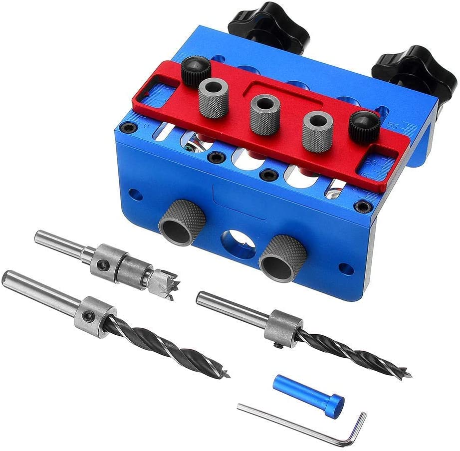 Gulakey Woodworking 3 In 1 Drill Guide Set Hole Puncher Dowelling Jig Self Tighen Clamp Dowel Tenon Punching Woodworking Tools