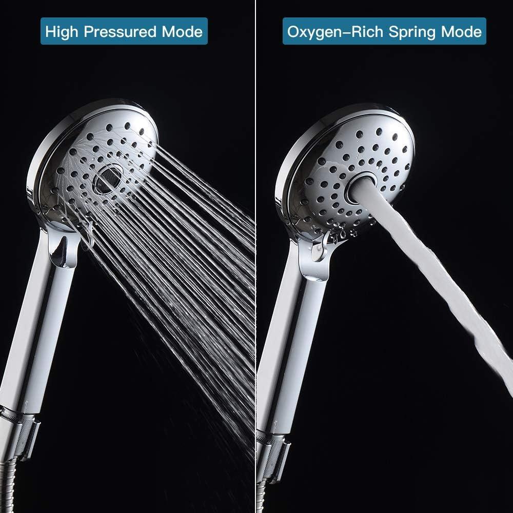 Elegear Duschkopf Handbrause 30/% Druckerh/öhend Hochdruck mit 1.5 M Brauseschlauch Handbrausehalter Halterung O2 Chrome Duschbrause Wassersparend Handbrause Easy-Clean Antikalk Funktion