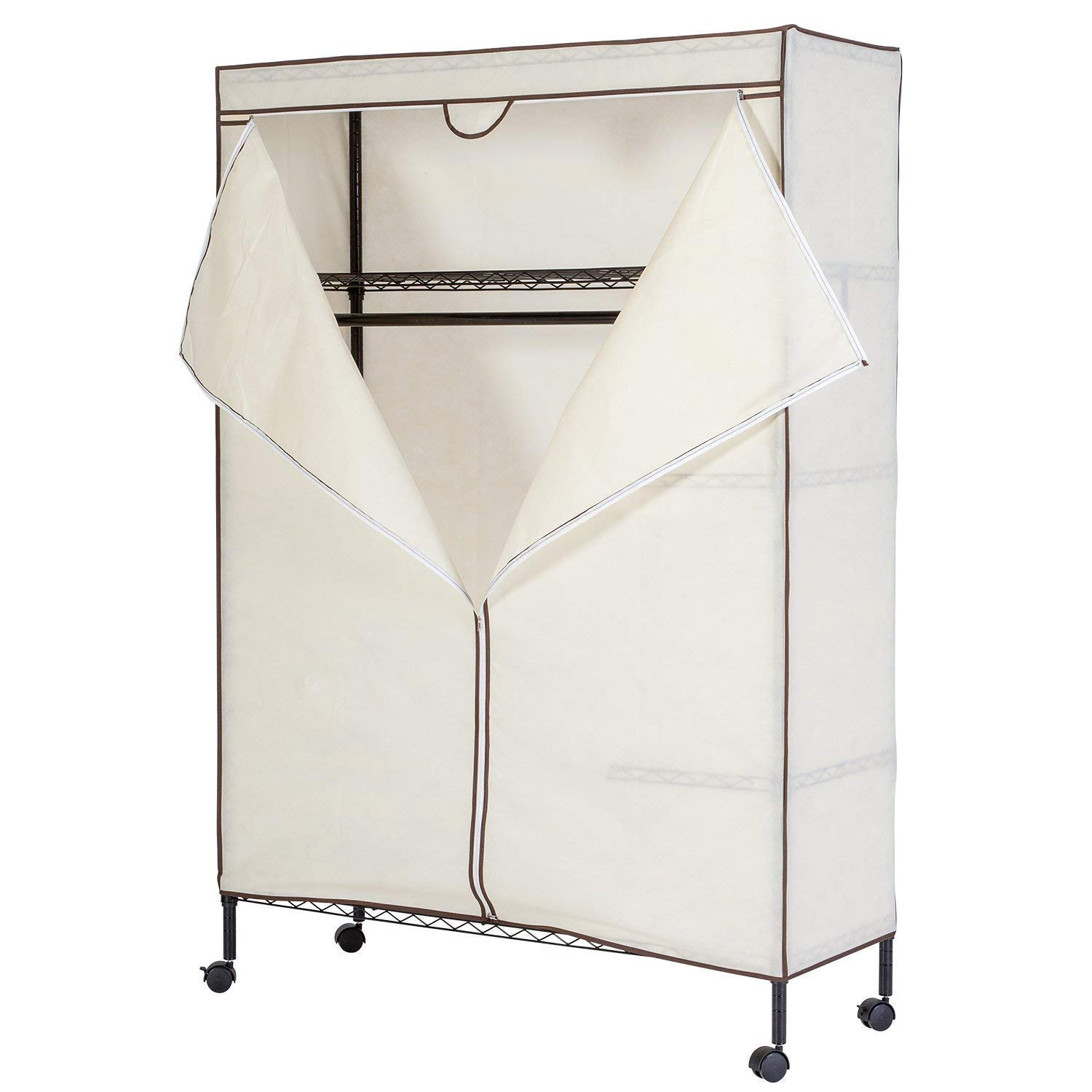 JS HOME Wardrobe Storage Orginizer/Garment Rack with Fitted Beidge Non-Woven Cover (0.22lbs)