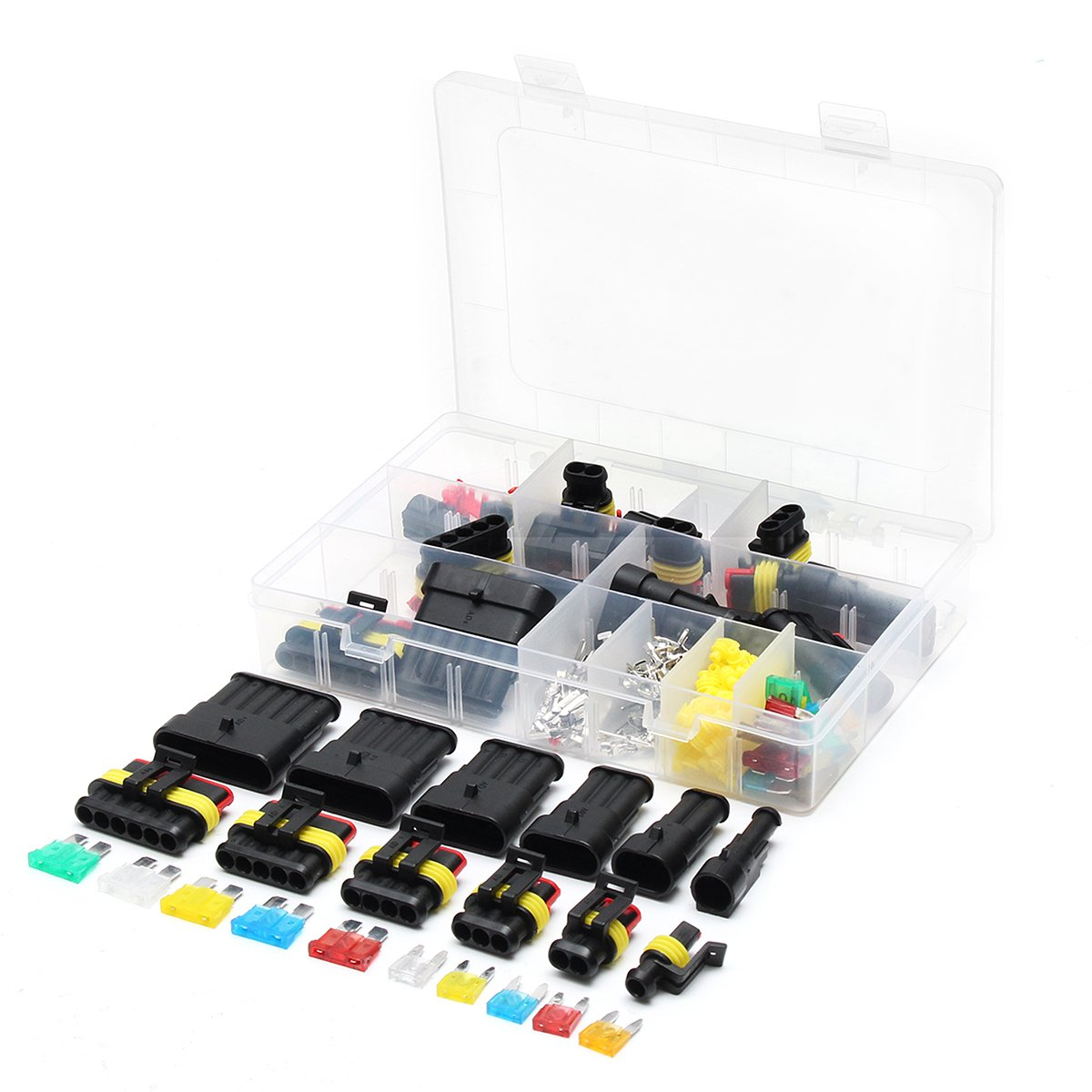 Summer-Home 1 2 3 4 5 6 Pin Car Motorcycle Waterproof Electrical Wire Connector Terminal Assortment Box Kit with Blade Fuses