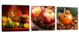 "Kitchen Art Apple Orange Wall Decor 36"" x 12"" Canvas Prints Artwork Pictures Painting on Canvas for Living Room Home Decoration"