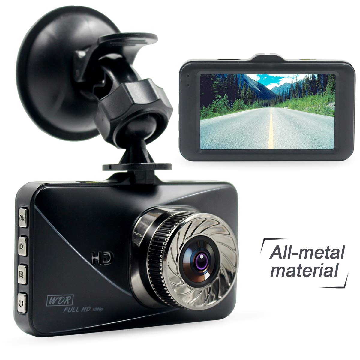Poetele Metal Shell Dash Cam,Small Dashboard Car Camera Recorder with Full HD 1080P,6-Lane 170/° Wide Angle Lens,3 LCD,G-Sensor,WDR,Parking Monitor,Loop Recording and Night Vision 3 LCD Poetele-R