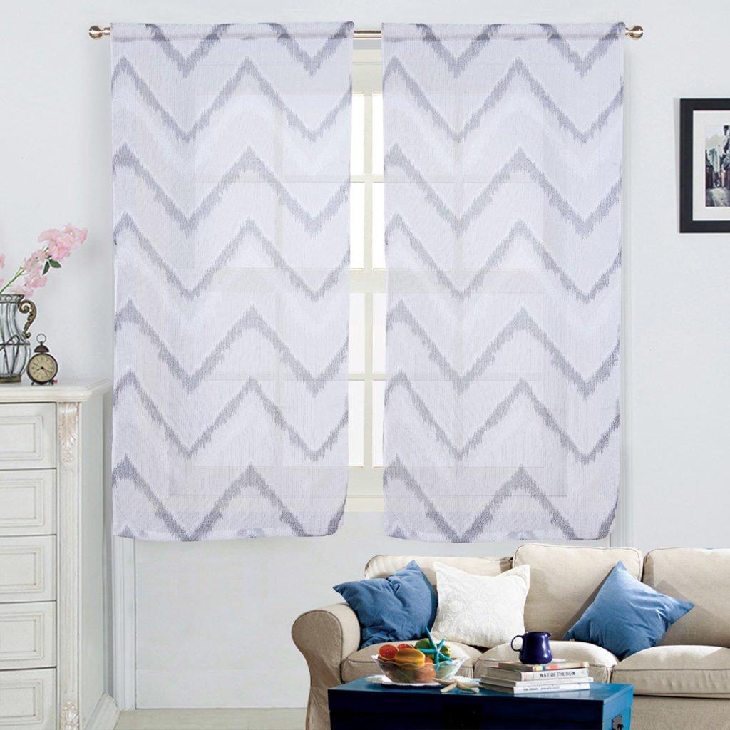 Paire de vitrage ZigZag - blanc-gris - 2x60x160cm Best Interior