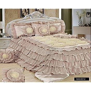 d7e7863736 Tache Home Fashion MA1612-K Tache 6 Piece Floral Solid Cinnamon Chai Beige  Ruffled Comforter Set King