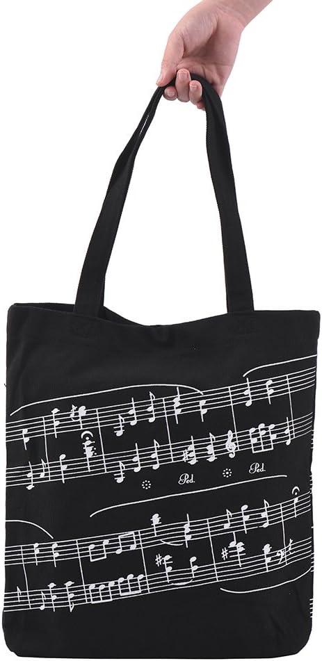 Muslady Lavable Algodón Bolso de tela Music Tote Shoulder Grocery Shopping Bag con patrón de notación musical de botón magnético: Amazon.es: Instrumentos musicales