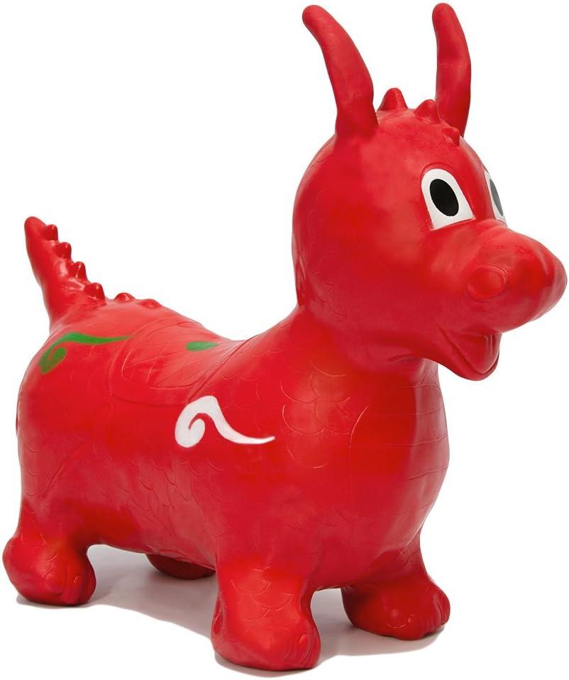 EYEPOWER Dragón Hinchable Desarrollo Habilidades motoras Primera Infancia | Animal de Juguete Inflable para cabalgar brincar retozar rebotar mecer | Asiento 26 cm de Alto | Rojo