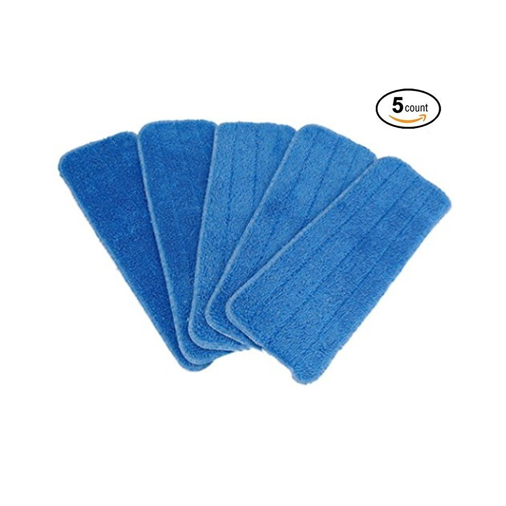Microfiber Spray Mop Replacement Heads for Wet/Dry Mops Compatible With Bona Floor Care System, Replacement Refills for Velcro Style Flat Mops, (5 Pack)