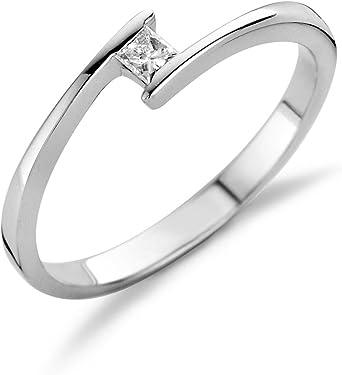 anillo de oro blanco de 14K con único diamante central blanco