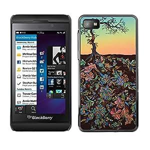 For Blackberry Z10 Case , Flowers Art Painting Tree Sky - Diseño Patrón Teléfono Caso Cubierta Case Bumper Duro Protección Case Cover Funda