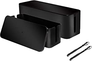[Set of 2] 2 Cable Management Boxes + 2 Wire Ties, Large Cord Box Organizers to Hold and Hide Power Strip Charger Adapter Power Cord Charging Station USB HUB (Black)
