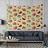 Anniutwo Coffee Art Wall Decor Coffee Shop Bakery Inspired Tasty Cupcake Pattern on a Polka Dot Hearts Backdrop Tapestry Wall Tapestry W60 x L51 (inch) Multicolor