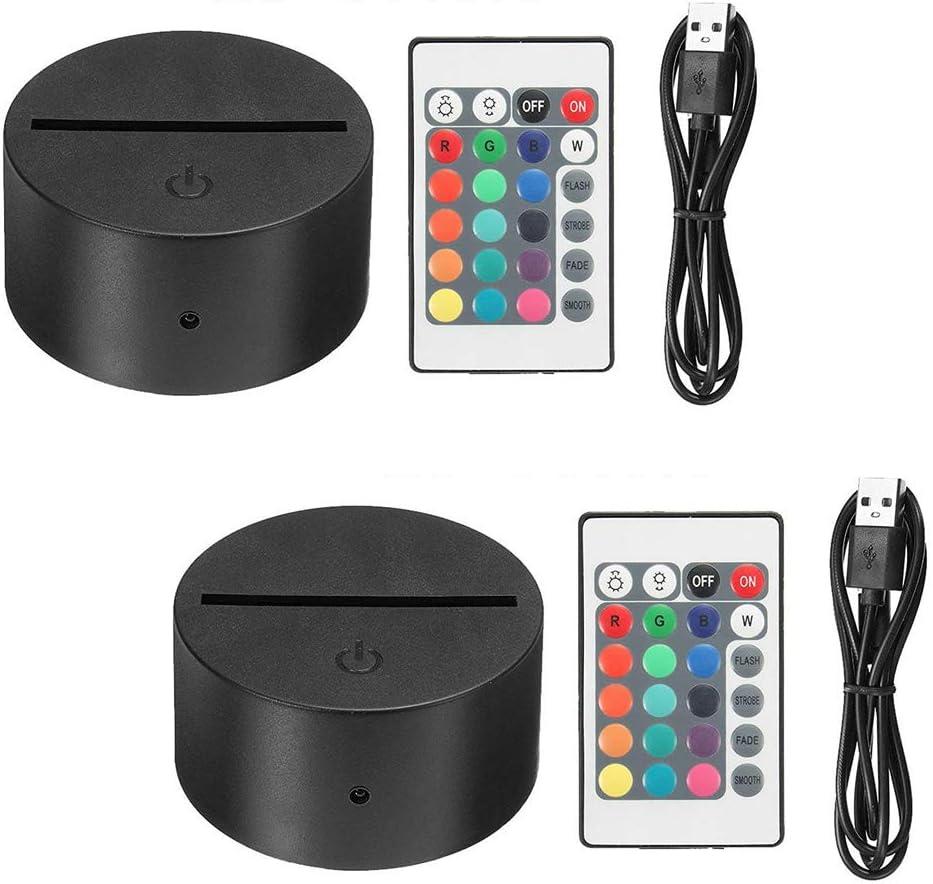 Thlevel 2x Base de lámpara de luz LED de noche 3D + control remoto + cable USB Ajustable 7 colores Luces decorativas para el dormitorio del niño sala de estar bar tienda cafetería restaurante (2 PCS)