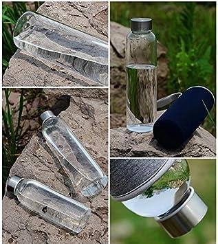 Westeng Deportes Botella de Vidrio Portátil y Nylon de protectora bolsa-360ml: Amazon.es: Deportes y aire libre