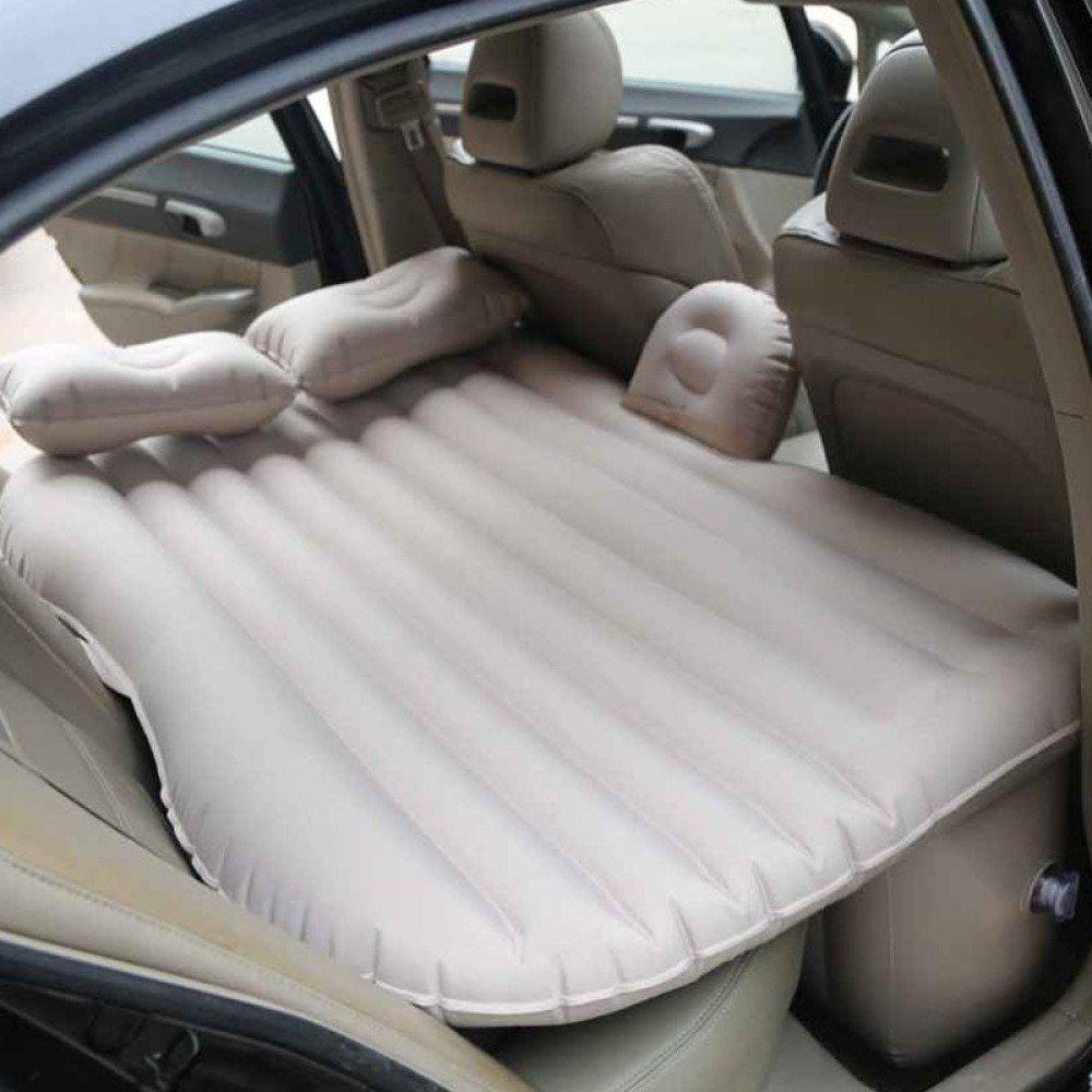 ERHANG Luftmatratzen Auto Aufblasbare Matratze Auto Bett Mobile Kissen Camping Air Bed mit Motorpumpe Zwei Kissen Für Reise und Schlaf Rest,Beige