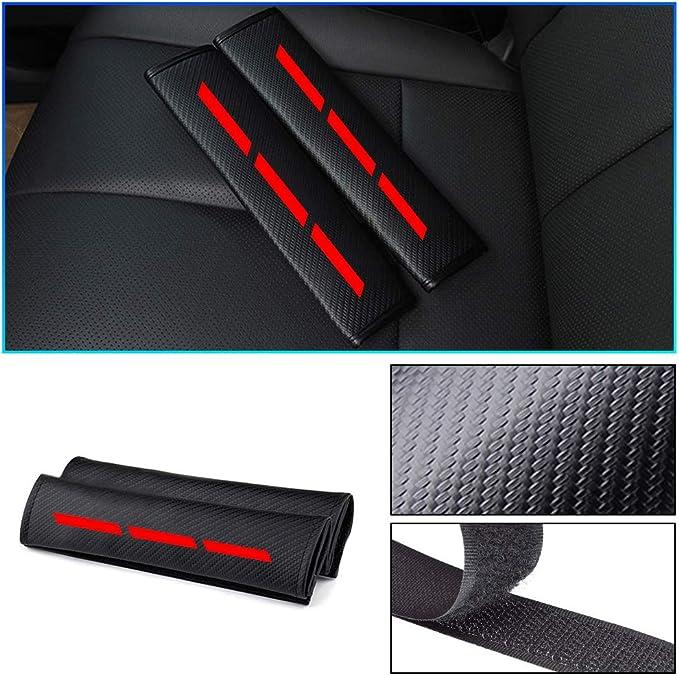 Custom seat belt cover with Reflective Sticker Carbon Fiber Texture for Honda CR-V Civic Jazz Accord Insight HR-V Car Safety Seat Belt Pads Shoulder Strap Cover 2pcs