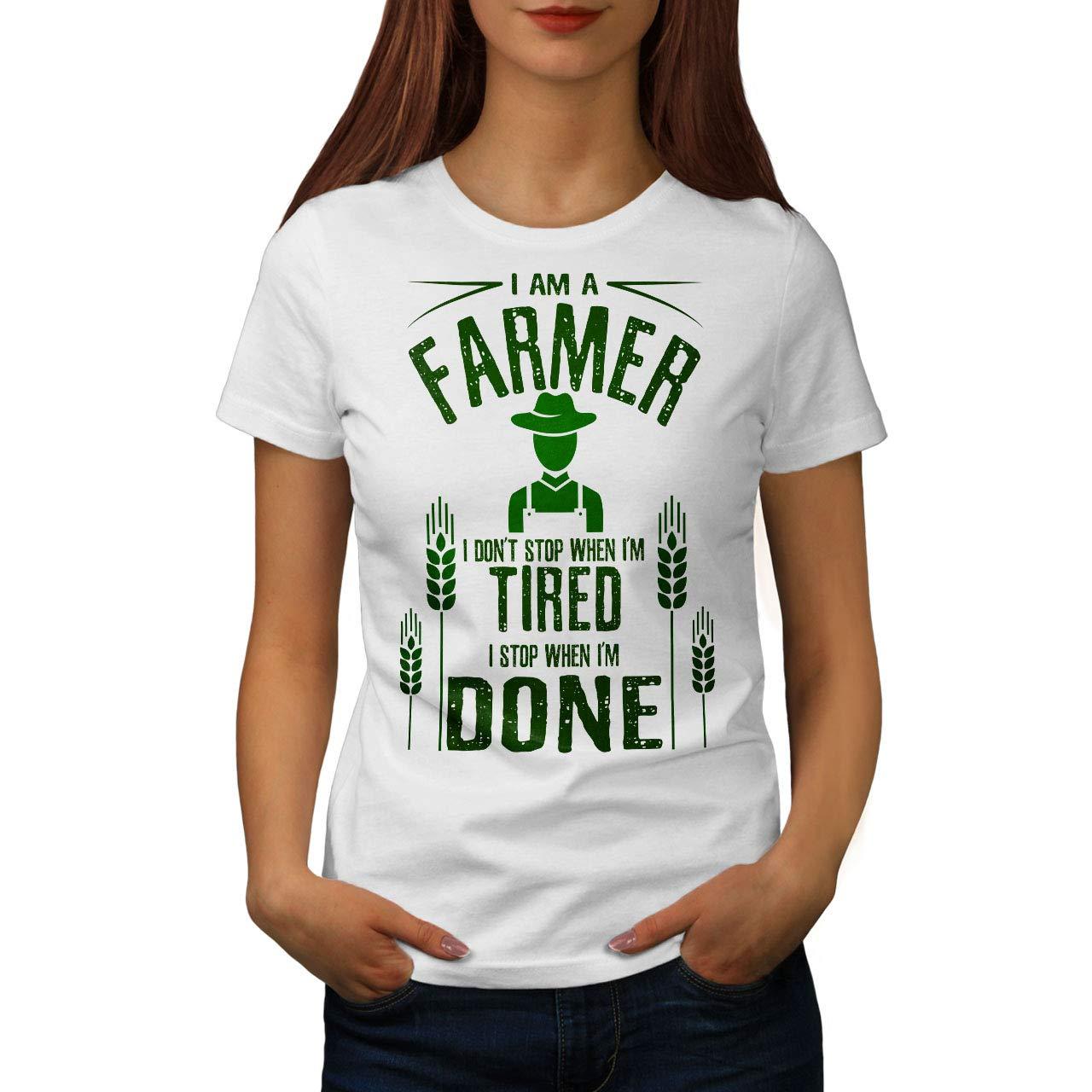 wellcoda Contadino Lavoro io Stop Donne Maglietta Quando Fatto/T-Shirt Stampata dal Design Casual