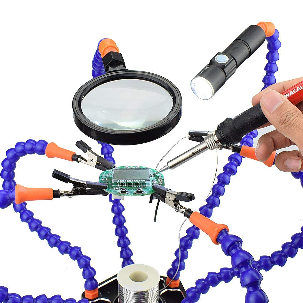 Estación de soldadura con manos que ayudan,NEWACALOX Herramienta de soldadura flexible con lente de aumento y mini linterna, Non-slip Aluminum Base,6 Manos ...