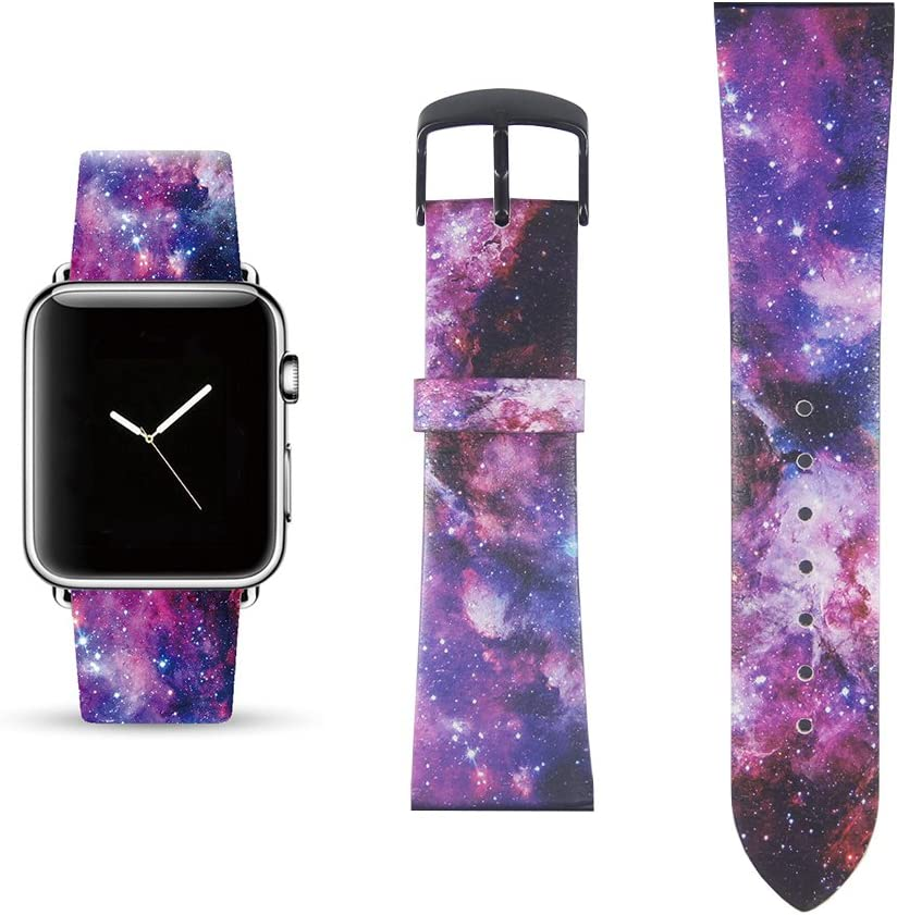 Galaxy Replacement Band Compatible for iWatch 38mm/40mm Pastel Bay Wrist Band PU Leather Strap Compatible for Apple Watch Smartwatch Series 4 3 2 1 Version