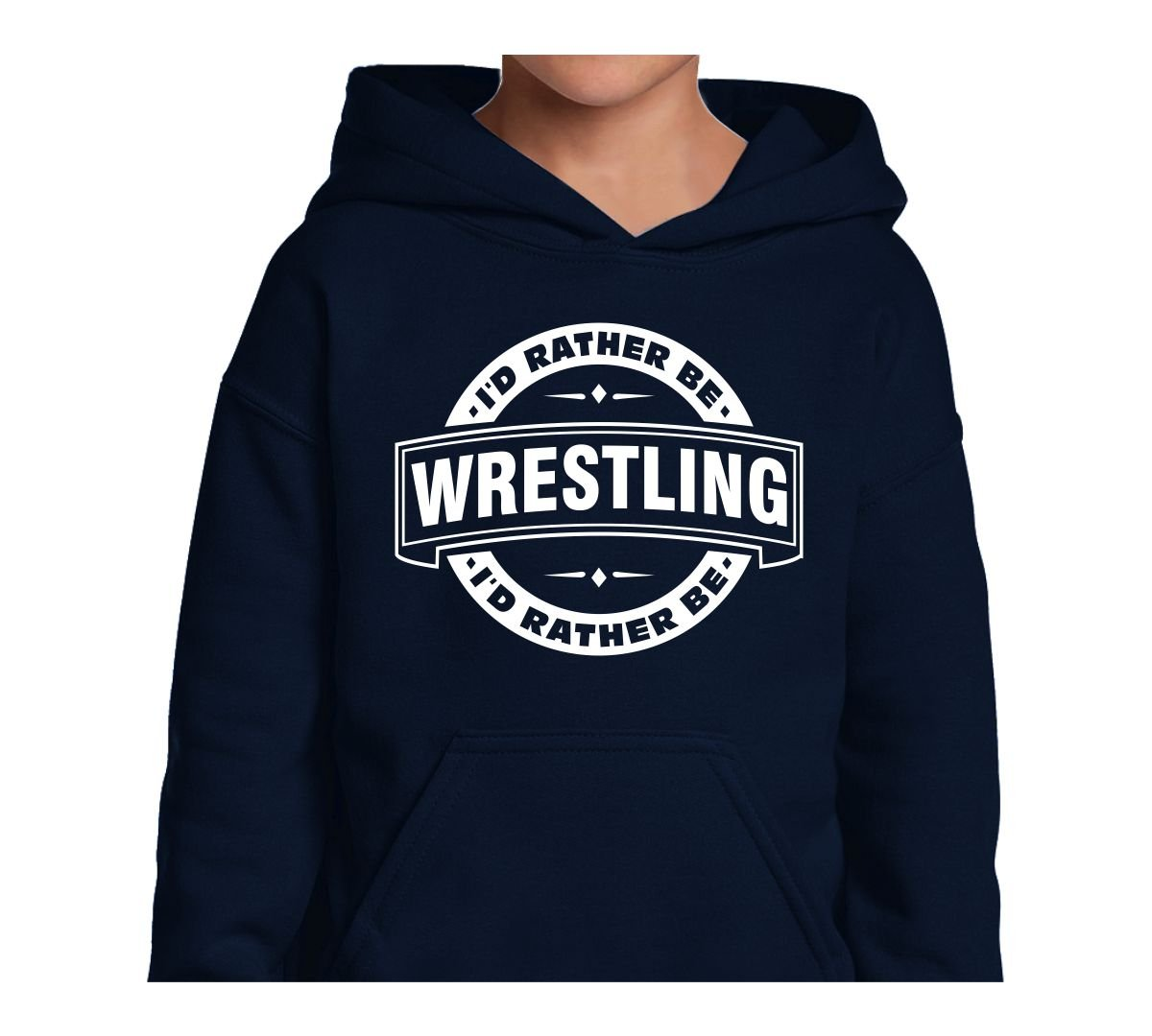 Mighty Ambitious Youth Hoodie ID Rather Be Wrestling (Badge) Medium Funny Kids