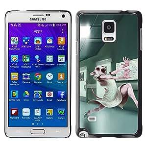 Be Good Phone Accessory // Dura Cáscara cubierta Protectora Caso Carcasa Funda de Protección para Samsung Galaxy Note 4 SM-N910 // Animal Testing Lab Cute Bunny White Rabbit