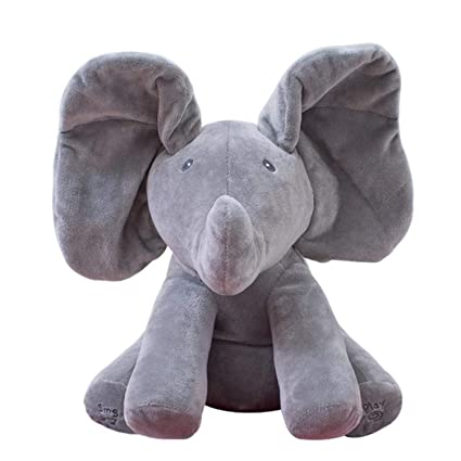 JEWH Peek A Boo Elephant & Bear - Stuffed Animals & Plush Doll Play Music -