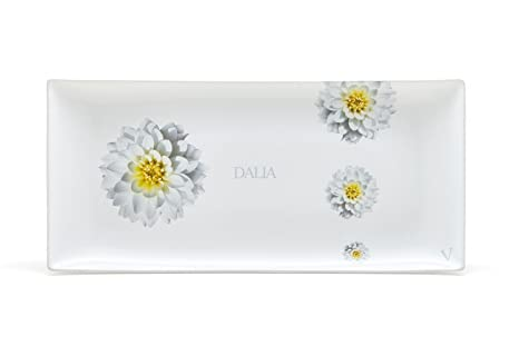 Ceramiche VIVA Dalia Bandeja Rectangular, cerámica, Fondo Blanco, con decoro