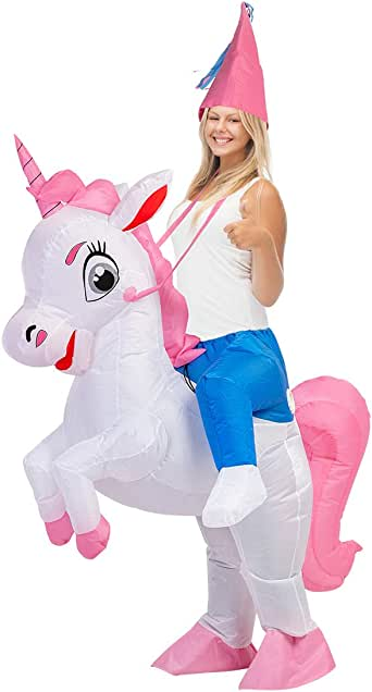 Kids Inflatable Unicorn Costume Adult Rider Costume for Halloween Blow Up Dress