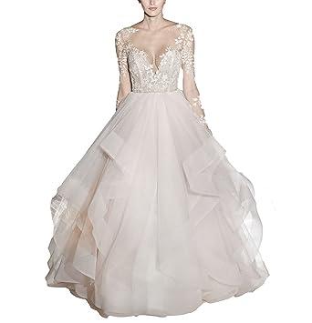 Mr.ace Homme 2017 Sexy Illusion Sheer vestidos de novia Long Sleeve Ball Gown Wedding